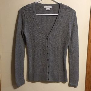 Liz Claiborne cable knit gray button up cardigan
